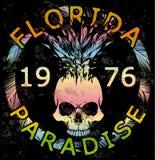 头骨T恤杉夏天汇集佛罗里达图形设计 图库摄影