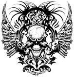 头骨T恤杉设计商标传染媒介例证 免版税库存照片