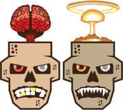 头骨w脑子n核疾风传染媒介 皇族释放例证