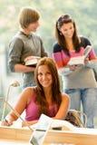 高中学员在图书馆研究中的采取附注 库存图片