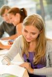 高中学员在图书馆研究中的采取附注 图库摄影
