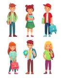 高中学生 哄骗与地球、书和背包的学生 男生和女孩学生字符传染媒介集合 库存例证
