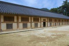 高丽大藏经存贮藏库的外部在海印寺寺庙的在Chiin-Ri,韩国 库存照片