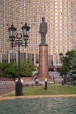 戴高乐将军纪念碑,路灯柱andt波斯菊旅馆门面我 免版税库存图片