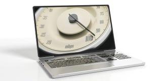高互联网速度 葡萄酒在白色背景隔绝的膝上型计算机屏幕上的汽车规格 3d例证 库存照片