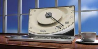 高互联网速度 葡萄酒在膝上型计算机屏幕上的汽车规格车速表,在窗口外面的迷离天空 3d例证 免版税库存图片