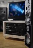 高保真系统、报告人和电视监测的录影生产 库存照片