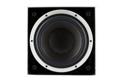 黑高光泽度的超低音扬声器 免版税库存图片