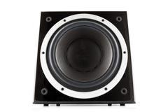 黑高光泽度的超低音扬声器 库存照片