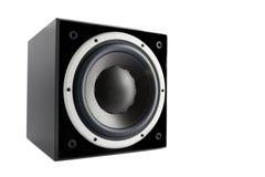黑高光泽度的超低音扬声器 库存图片