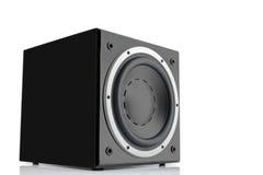 黑高光泽度的超低音扬声器 免版税图库摄影