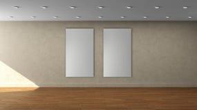 高分辨率米黄与两白色颜色垂直的框架的墙壁空的内部模板在前围上 免版税图库摄影