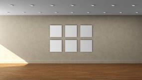 高分辨率米黄与多个白色颜色框架的墙壁空的内部模板在前围上 库存照片