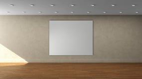 高分辨率米黄与白方块颜色框架的墙壁空的内部模板在前围上 免版税库存图片