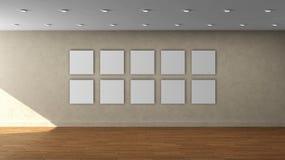 高分辨率米黄与10白色颜色正方形框架的墙壁空的内部模板在前围上 免版税库存照片