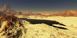 高分辨率Oil湖在沙漠(可能伊拉克或俄罗斯) 库存图片