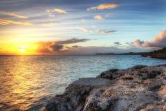 高力学范围(HDR)加勒比日落 免版税库存图片