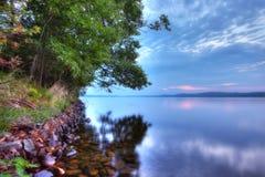 高力学范围(HDR)北部森林日出 免版税库存照片
