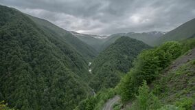 高加索山脉史诗Timelapse白种人秀丽自然乔治亚文化 影视素材