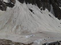 高加索dombay冰川山山 免版税库存照片