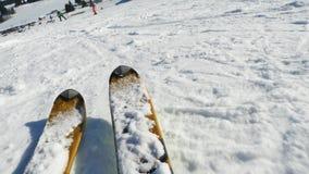 高加索dombay区域滑雪倾斜 股票视频