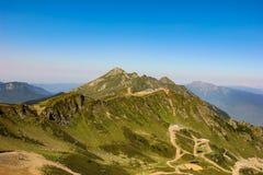 高加索山脉罗莎峰顶在夏天 Krasnaya polyana,罗莎Khutor,索契,俄罗斯 免版税库存照片