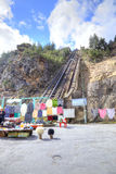高加索 缆索铁路在Adyr Su的峡谷 库存图片