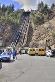 高加索 缆索铁路在Adyr Su的峡谷 库存照片