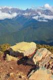 高加索,从顶面Roza峰顶的看法 索契,克拉斯诺达尔边疆区,俄罗斯 免版税库存图片