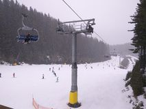高加索dombay区域滑雪倾斜 图库摄影