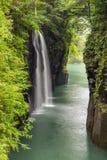 高千穗峡谷和瀑布在宫崎,九州,日本 免版税库存照片
