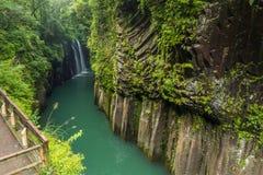 高千穗峡谷和瀑布在宫崎,日本 免版税图库摄影