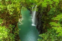 高千穗峡谷和瀑布在宫崎 图库摄影
