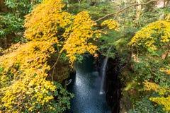 高千穗峡谷在宫崎在秋天 免版税库存图片