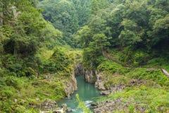 高千穗峡谷风景和河在宫崎,九州,日本 免版税库存图片