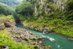 高千穗峡谷风景和河在宫崎,九州,日本 库存图片