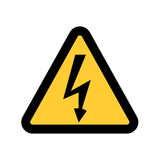高压标志 危险标志 在白色背景的黄色三角隔绝的黑箭头 警告象 库存图片
