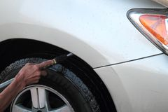 高压清洗的洗车 免版税图库摄影