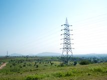 高压电杆印度 免版税图库摄影