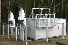 高压电源变压器分站 免版税库存照片