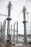 高压电源变压器在分站 免版税库存图片