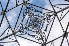 高压电源杆纹理背景 免版税图库摄影
