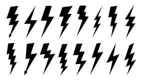 闪电剪影 高压电能标志、电闪电和雷电剪影 ?? 库存例证