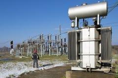 高压switchyard在电子分站 图库摄影