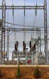 高压switchyard在电子分站 免版税库存照片