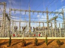 高压switchyard在电子分站 库存图片