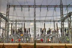 高压switchyard在电子分站 免版税图库摄影