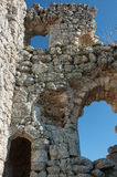 高原Mangup无头甘蓝的一个古老堡垒废墟。乌克兰,克里米亚 免版税库存照片