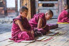 高呼两名喜马拉雅不丹年轻新手的修士,不丹 免版税库存照片