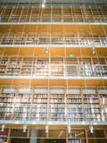 高图书馆 从下来的许多书冠上的 库存图片